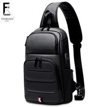FRN new Crossbody Shoulder Bag for Men Sling Bag Usb Charging Short Trip Casual Messenger Bags Water Repellent Chest Bag Male