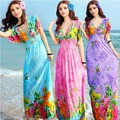 Free Shipping New Sexy Casual Women Floor-Length Beach Dress Butterfly Sleeve Print Bow V-Neck Summer Sundress