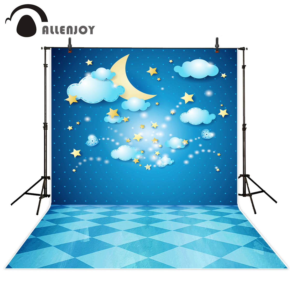 Allenjoy photography backdrop Clouds Stars Moon Love Places Ground Baptized Children background photo studio camera fotografica ...