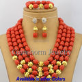 2017 Latest African Wedding Coral Beads Jewelry Set African Costume Jewelry Set Christmas  Gold Plated Free Shipping CNR168
