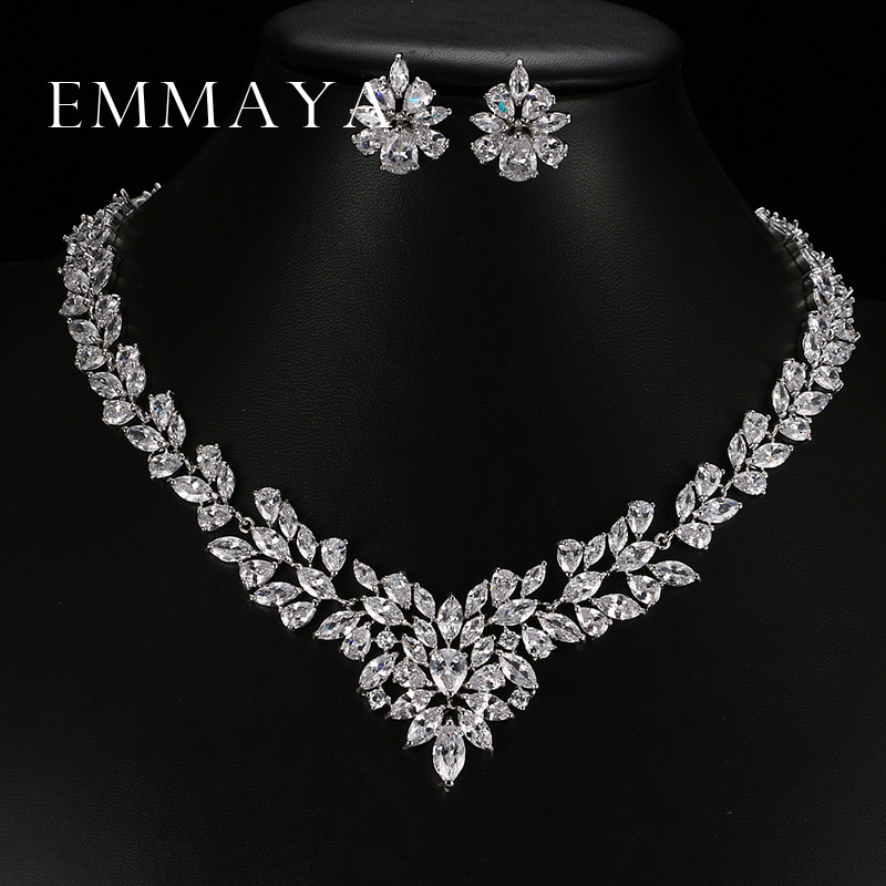 Emmaya Jewelry-Set Gold-Plate Cubic-Zircon Pendant/earrings White Women New Top Flower