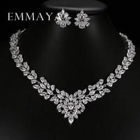 New Top White Gold Plate Flower Jewelry Set AAA Cubic Zircon Pendant Earrings For Women Wedding