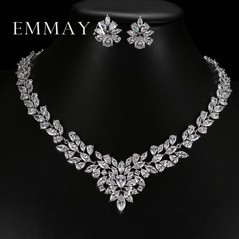 Emmaya uus ülemine valge kuldplaadi lillekaubanduse komplekt AAA kuupmeetri tsirkoon ripats / kõrvarõngad naistele pulmade ehtekomplektid