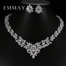 Фотография New Top White Gold Plate Flower Jewelry Set AAA Cubic Zircon Pendant/Earrings for Women Wedding Jewelry Sets