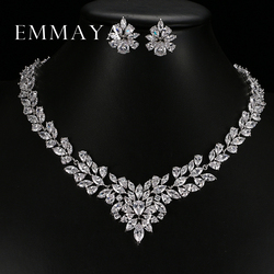 Emmaya New Top White Gold Plate Flower Jewelry Set AAA Cubic Zircon Pendant/Earrings for Women Wedding Jewelry Sets
