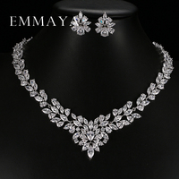 New Top White Gold Plate Flower Jewelry Set AAA Cubic Zircon Pendant Earrings For Women Wedding
