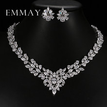 Emmaya New Top White Gold Plate Flower Jewelry Set AAA Cubic Zircon Pendant/Earrings for Women Wedding Jewelry Sets(China)