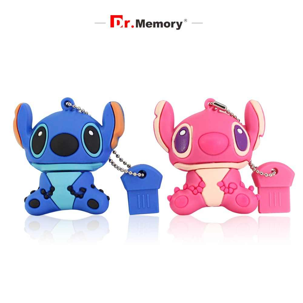 Dr. Memory Cute Pen Drive Silicone Stitch USB Flash Mini USB Stick Creative Memoria Disk on Key Ring 4GB 8GB 16GB 32GB 64GB Gift