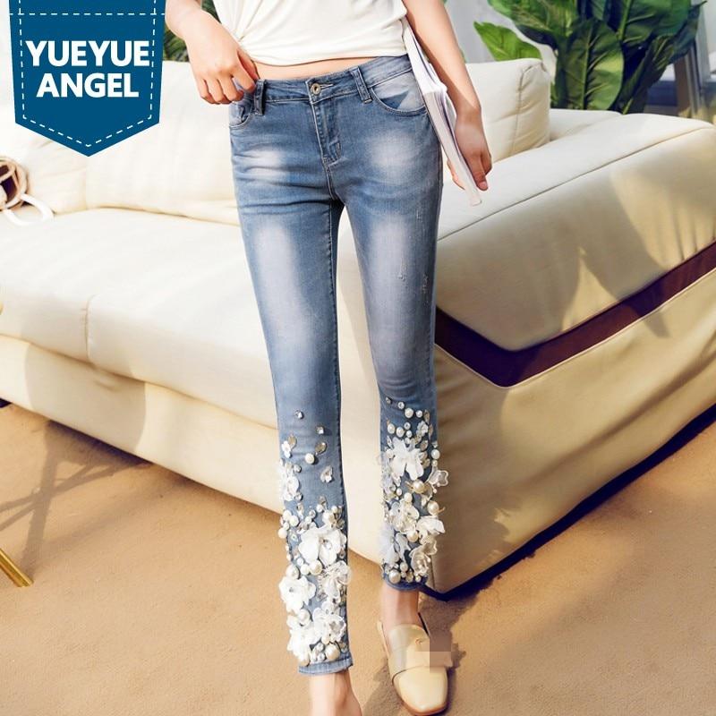 Designer New Rhinestone Diamond Jeans Femme Embroidery Denim Stretch Pencil Pants Retro Casual Slim Fit Trousers Plus Size 32