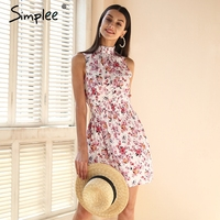 Simplee Sleeveless Floral Print Summer Dress Women Elastic Waist Streetwear Mini Dress Beach Boho Dress Female