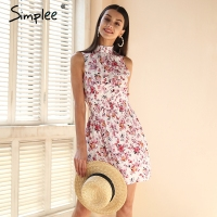 Simplee Sleeveless Floral Print Summer Dress Women Elastic Waist Streetwear Mini Dress Beach Boho Dress Female