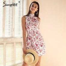Streetwear Simplee Mangas cópia floral vestido de verão mulheres cintura Elástica mini vestido Praia boho vestido feminino vestidos 2018