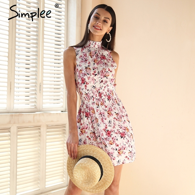 dc14687668 Simplee Sleeveless floral print summer dress women Elastic waist streetwear  mini dress Beach boho dress female