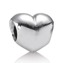 Authentic 925 Sterling Silver Bead Charm Cute Big Smooth Love Heart Beads Fit Women Pandora Bracelet Bangle DIY Jewelry(China)