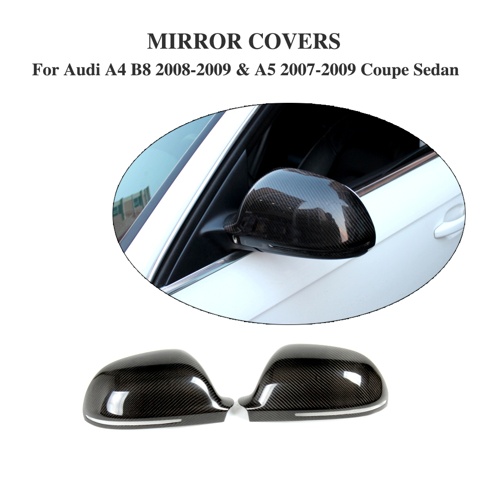 carbon fiber Add on style side Mirror Covers Caps For Audi A3 S3 8P A4 B8 S4 RS4 08-10 A5 S5 8T 07-09 without side assist yandex w205 amg style carbon fiber rear spoiler for benz w205 c200 c250 c300 c350 4door 2015 2016 2017