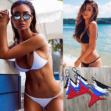 Women Simple Solid Bandage Two Pieces Swimsuits Black White Red Army Green Bikini Set Push-up Swimsuit Bathing Suit Swimwear(China)