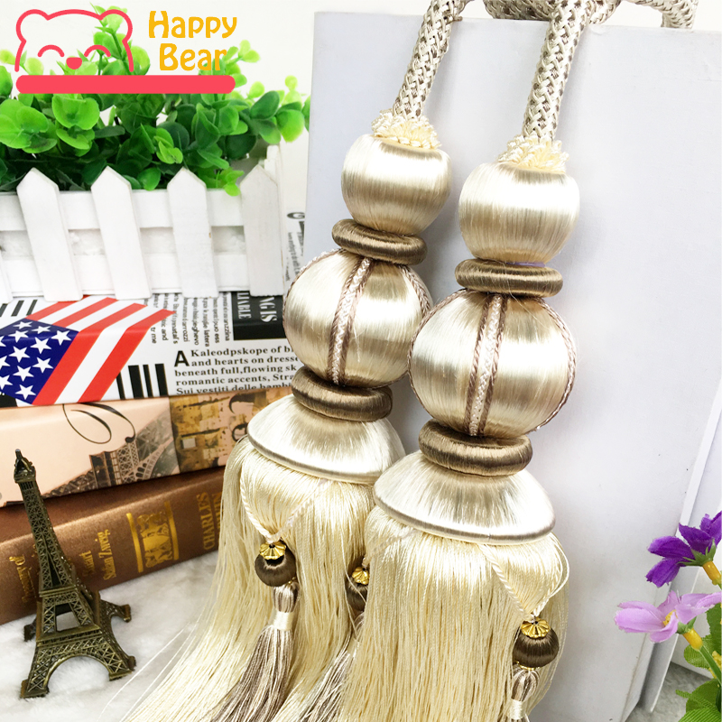1 Pair Luxury Home Decoration Curtain Cips Tieback Accessories Hanging Belt  Ball Curtains Strap Tassel Curtain Tieback Buckle In Curtain Decorative ...