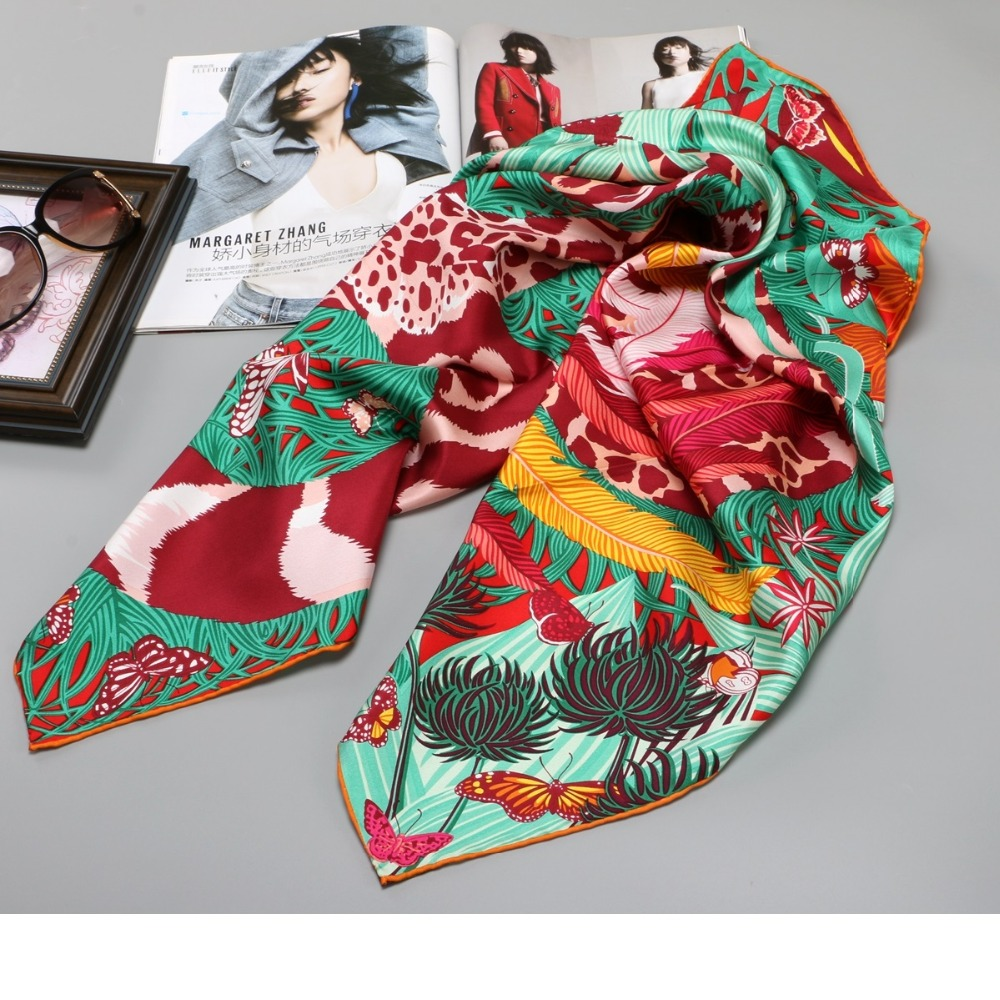 High Style 100% Twill Silk Scarf Hijab Women Head Scarves for Hair Wrapping Large Square Silk Scarfs Foulard 35 X 35 Inches