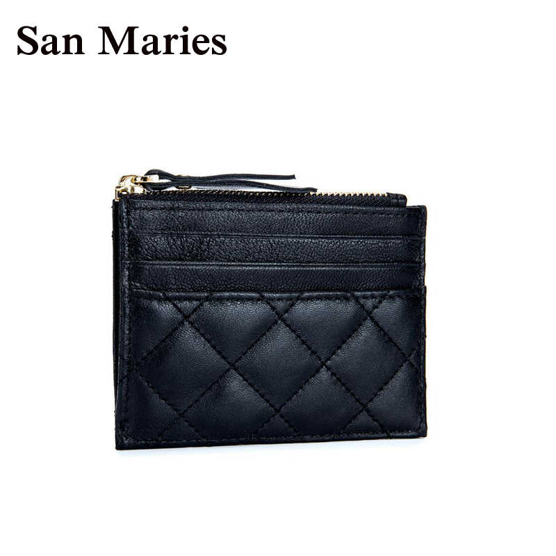 San Maries Sheepskin Leather Credit Card Holder Genuine Leather ID Card Holders Business ID Wallet Slim Wallet Unisex