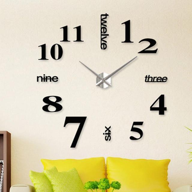 creative 3d wall clock diy large decorative wall clock big mirror