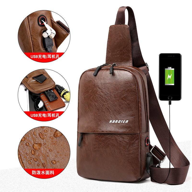 New Hot Selling Summer Men Leather Chest Bag USB Backbag With Headphone Hole Multi-pocket Travel Organizer Male Sling Bag