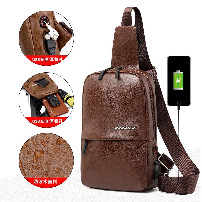 New Hot Selling Summer Men Leather Chest Bag USB Backbag With Headphone Hole Multi-pocket Travel Organizer Male Sling Bag