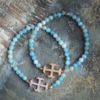 Galmei Blue Cross Full Rhinestone Bracelet Hemimorphite
