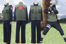 Male Anime Cosplay Naruto Hatake Kakashi Cos costume full set 3 in 1 (vest +top +pants) Anime Cosplay vestidos disfraces