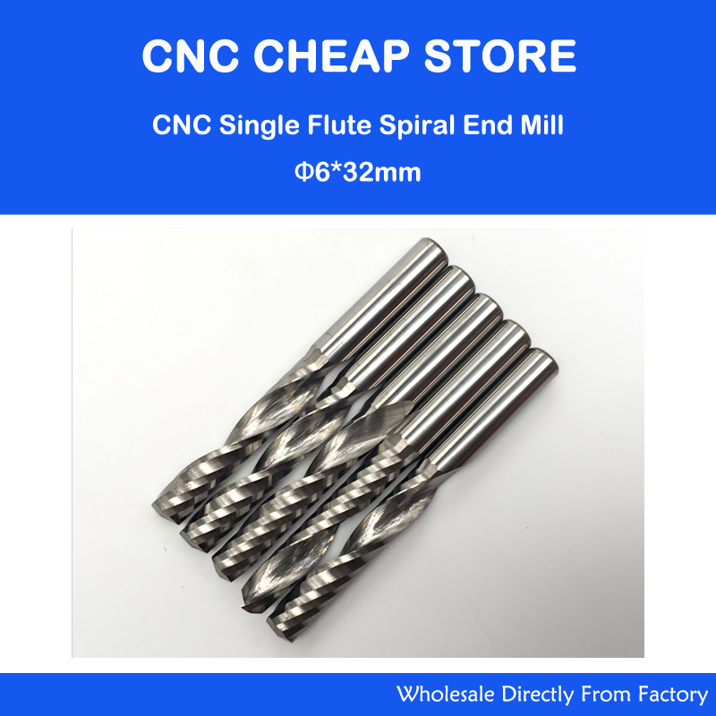 Free shipping 5 pcs Carbide endmill single flute spiral CNC router bits 6mm 32mm 6 32 super solid carbide one flute spiral bits for cnc engraving machine aaa series