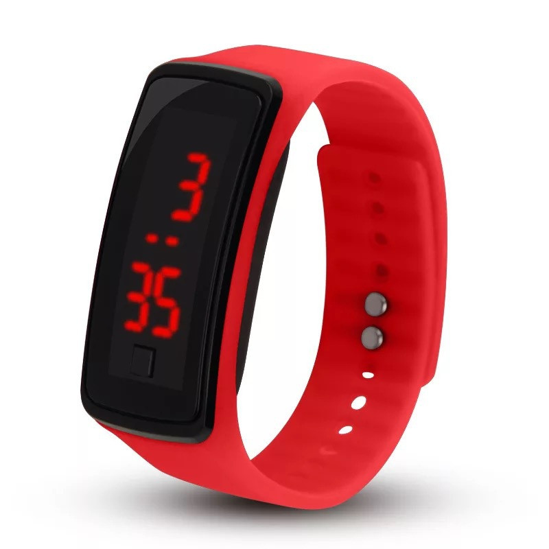 купить Red Adjustable Digital Watches LED Digital Display Bracelet Watch Children Students Womens Wrist Watch Unisex KIds Sports по цене 62.56 рублей