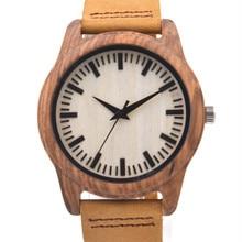 2016 Recién Llegado de Zebra Wood Reloj Para Hombre Regalos Con Caja de Lujo Correas De Cuero Genuino MIYOTA 2035 Movimiento Japenese
