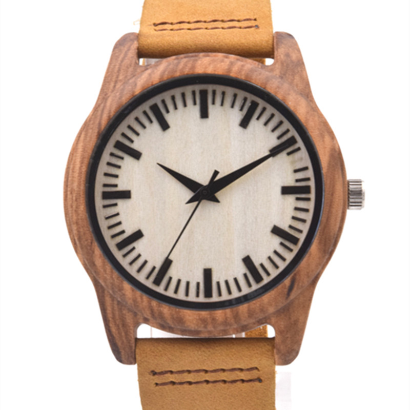 2016 New Arrival Zebra Wood font b Watch b font For Mens Gifts With Genuine Leather