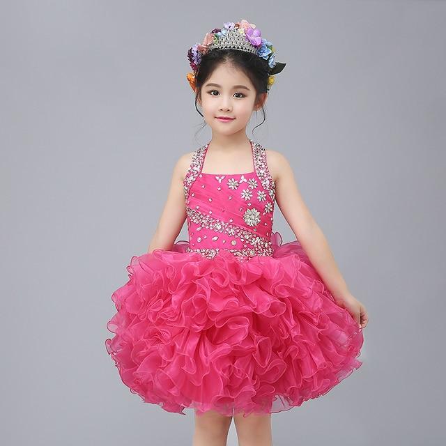 Lujo halter sin tirantes que rebordea vestidos de niña vestido de ...