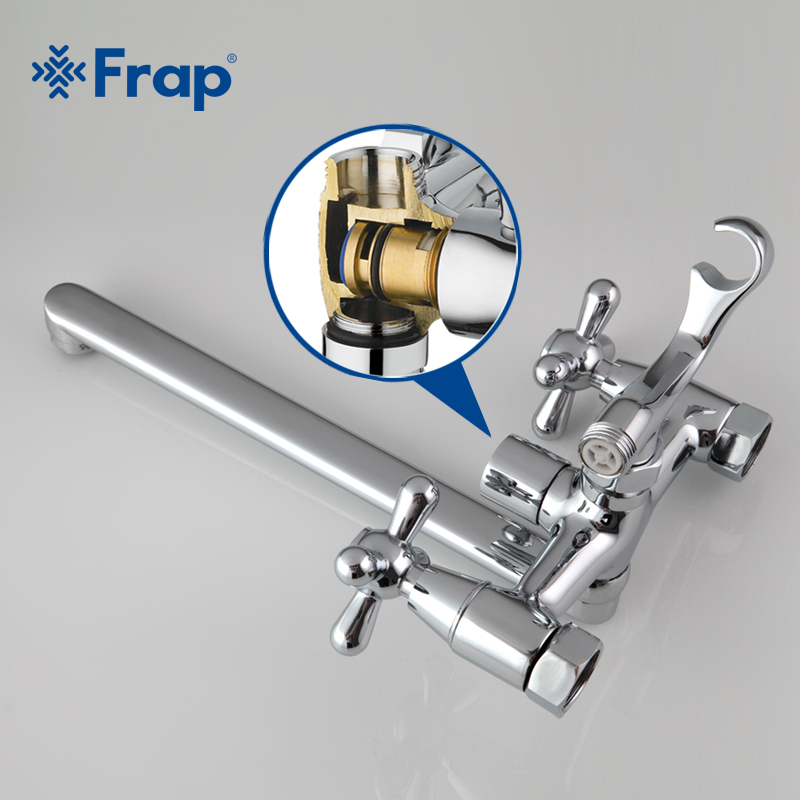 Image 3 - FRAP Traditional bathroom faucets 300mm long water outlet tube move 90 degrees left and right F2225 F2224-in Shower Faucets from Home Improvement
