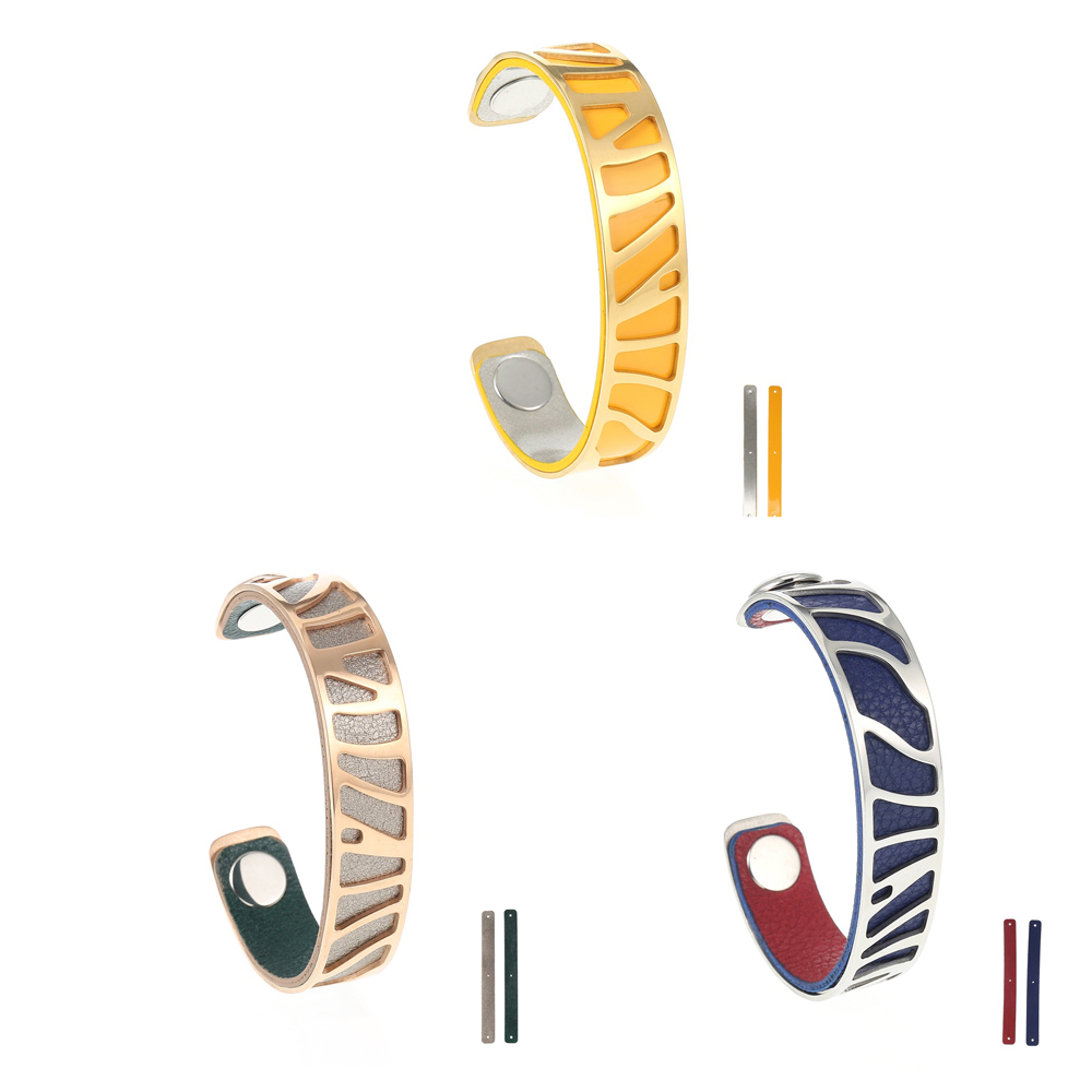 Legenstar Line Bangle Bracelet Stainless Steel Bangles Jonc Bijoux Femme Cuff Leather Reversible Water Ripple Manchette bracelet