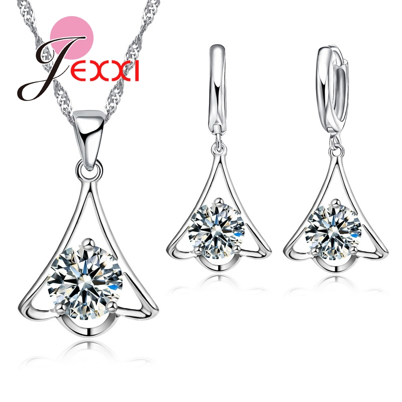JEXXI Hot Sale S90 Silver Jewelry Set For Women/Gilrs With Shiny CZ Crystal  Necklace Earrings Fashion Jewelry