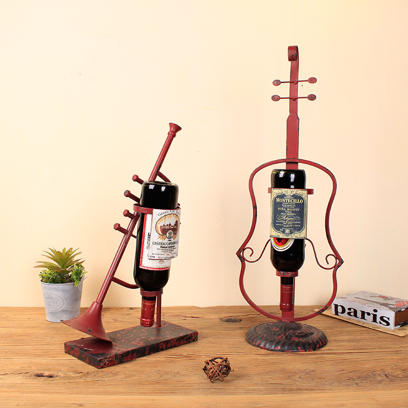The New Instrument Wine Rack Creative Home Furnishing Craft Ornaments Metal Crafts Ornaments - 2