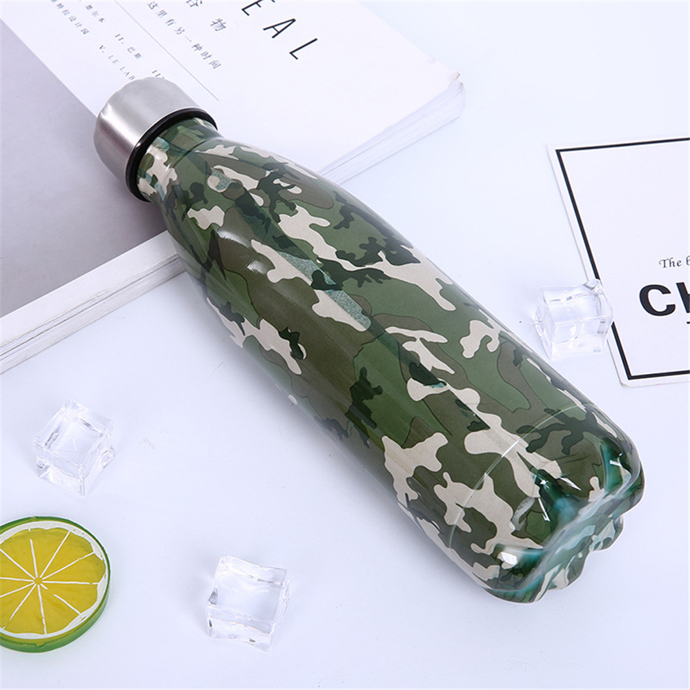 Cool Camouflage Water Bottle Starry Sky Printed Thermos Wooden Texture Drink Bottle Vacuum Insulated Cup in Water Bottles from Home Garden