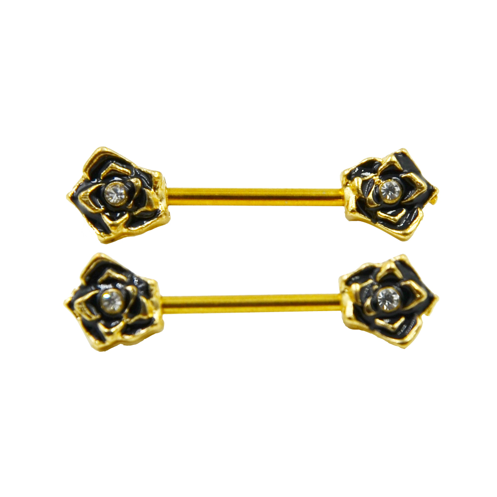 PAIR Gold Color Nipple Shield Rings Gold Rose Flower Nipple Barbells Jewelry Surgical Steel Body Jewelry 14G