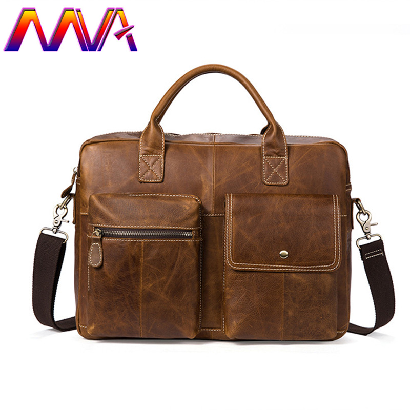 MVA genuine leather men hand briefcase with quality cow leather men shoulder bag for 14 inch notebook bag women laptop bgas
