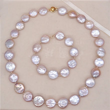 Eternal wedding Women Gift word 925 Sterling silver real Natural freshwater Baroque baroque pearl necklace, small wafer ne