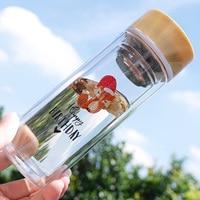 הדפסת בעלי חיים חמודה כיתת בידוד כפול בקבוק נסיעות בקבוק מים נייד עם מסנן תה טרי סטודנטים קוריאנים משלוח חינם