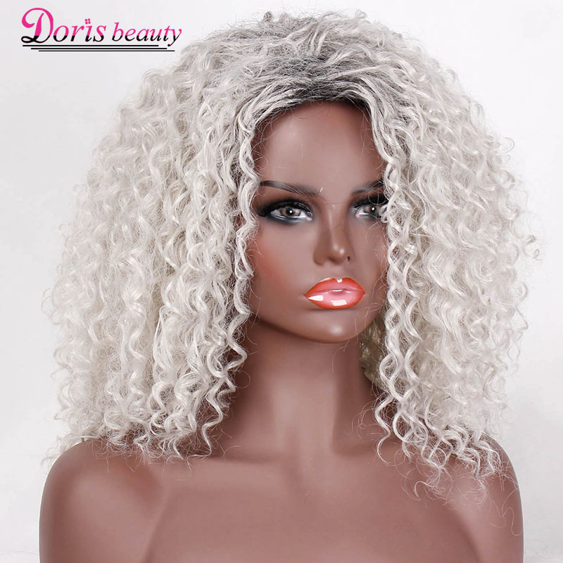 Doris Beauty Long Ombre Gray White Wigs For Women Synthetic Curly Wig Afro Cosplay Hair Natural Silver Black Brown Red