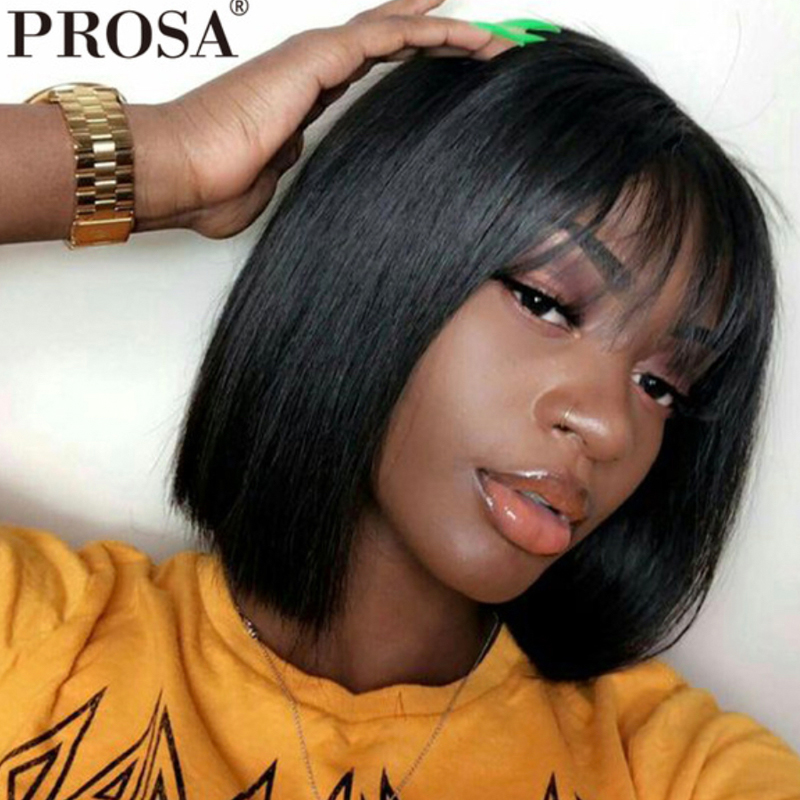 250 Density Bob Wig Straight Bob Lace Front Wigs With Bangs Brazilian Lace Front Human Hair Bob Wigs For Women Black Remy