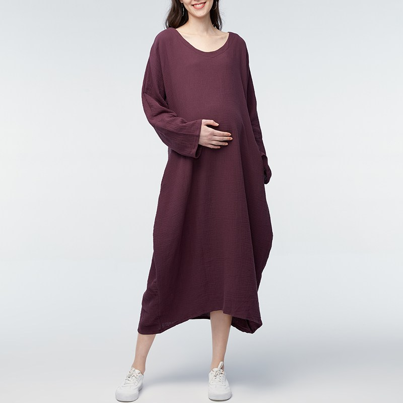 Maternity Clothings 2018 Summer Retro Mid-calf Dress Pregnant Women Oversized Long Sleeve Casual Loose Solid Vestidos Plus Size
