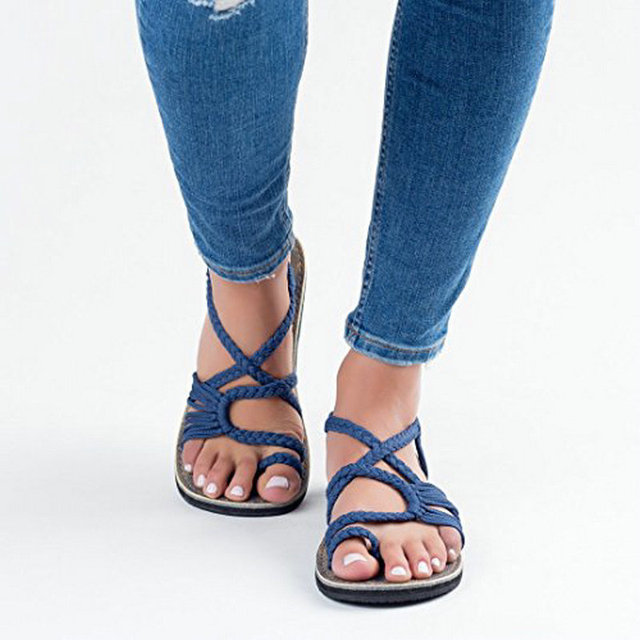 Fashion Women Flat Sandals 2019 Summer flip flop Hand weaving Women Shoes Comfortable Rome Beach Shoes Soft Flat Sandals