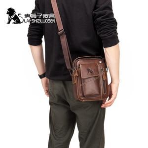 Image 4 - LAOSHIZI Genuine Cow Leather Messenger Bag Men Handbag Chest Crossbody Shoulder Bag Mens bag Tas Business Small Male Bolsas Sac