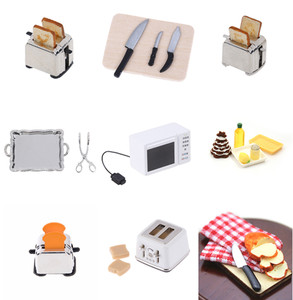 iniature For Doll House Microwave Food Bread Cooking Board Knife Chopping Block Pretend Play Kitchen Toy 1: 12 1:6 Scale M(China)