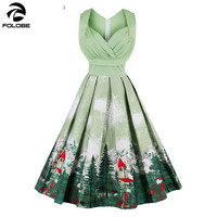 FOLOBE Vintage Pleated Green Dress Mountain Print Christmas Party Women Midi Dress V Neck Sexy Rockabilly Dresses