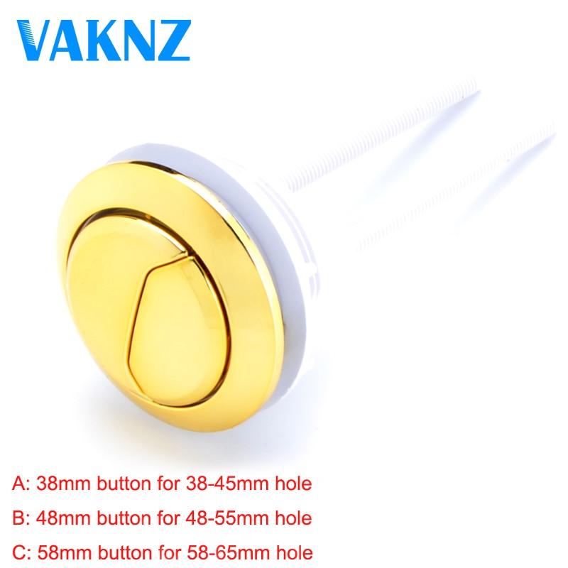 Dual Flush Toilet Tank Gold Colour Button Round Shape Toilet Push Buttons Bathroom Accessories 58mm/48mm/38mm